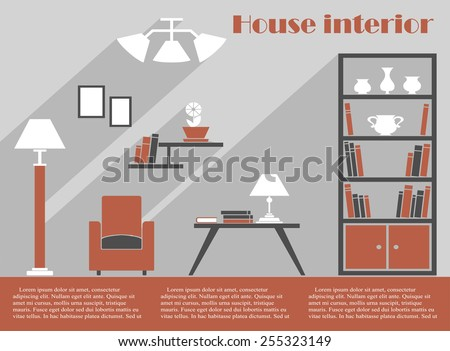 House Interior Design Infographic Template In Grey And Brown With A Simple  Armchair, Bookcase,