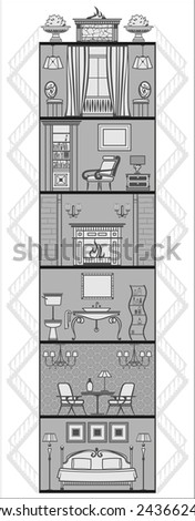 house interior in antique style silhouette. Vector illustration - stock vector