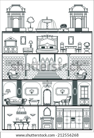 house interior in baroque style silhouette. Vector illustration - stock vector