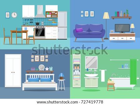 House Interior Kitchen Living Room Bedroom Bathroom Flat Style Vector