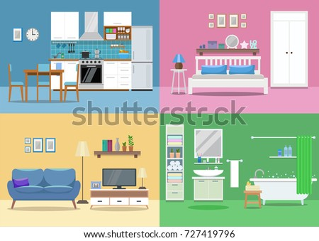House Interior, Kitchen, Living Room, Bedroom, Bathroom. Flat Style, Vector Part 16