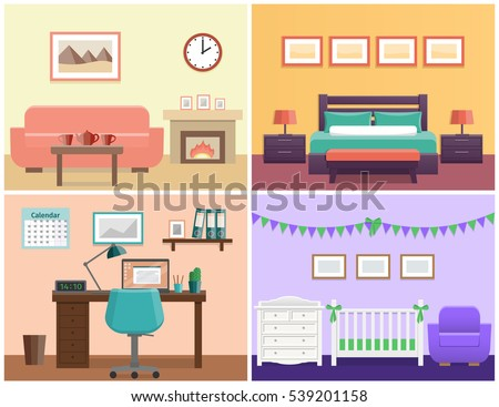 House interior living room, bedroom, office place, baby nursery. Flat vector design with furniture including sofa, fireplace, bed, desk, laptop, crib and changing table icons.