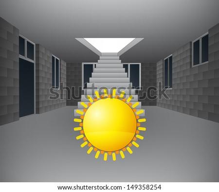 house interior with sun in front of staircase vector illustration - stock vector