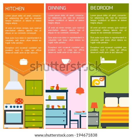 House interiors banners with kitchen dining bedroom isolated vector illustration - stock vector