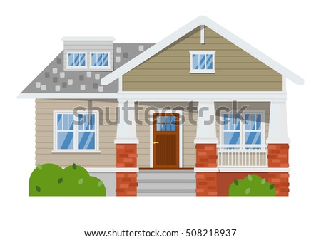 House isolated on white background. Vector house or family home isolated. Flat residential house and detailed house exterior. Home.