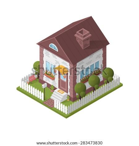 House isometric - stock vector