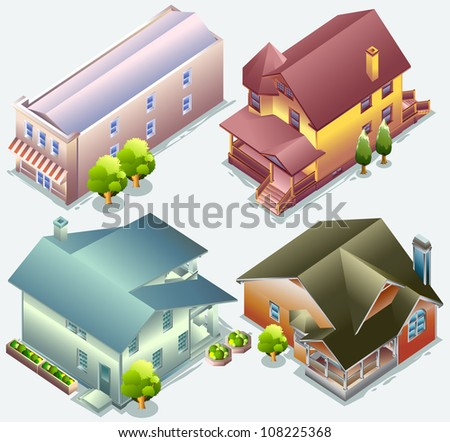 house isometric. set of building isometric. very detail isometric vector - stock vector