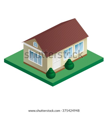 House isometric vector icon. Private house real estate - stock vector