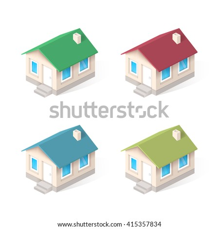 House isometric vector icons set - stock vector