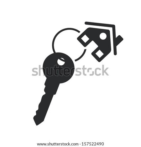 house key black web icon. vector real estate template - stock vector