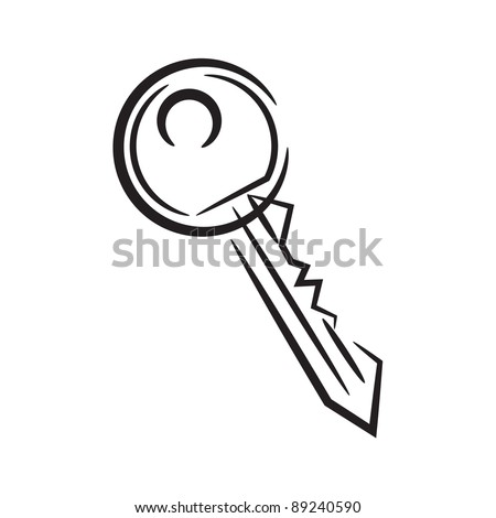 house key. icon black and white vector illustration - stock vector