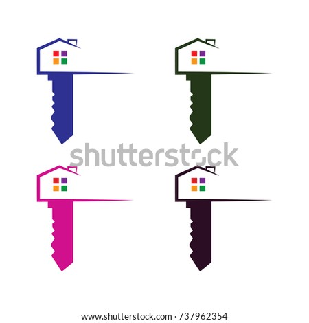 Silhouette house key logo vector house stock vector 737962372 house key logo vector house with key logo template key with house logo conception pronofoot35fo Images