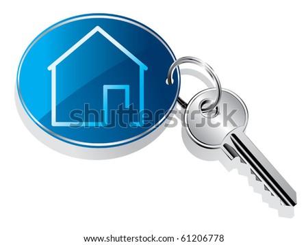 House key ring vector - stock vector