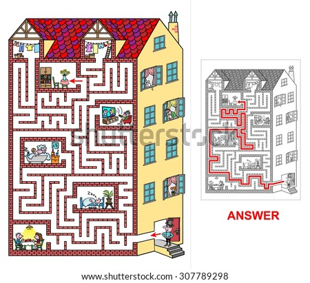 House - labyrinth for kids (easy). Help lord to find a correct way to his flat at top floor. Beware and do not get lost otherwise you will visit neighbors! - stock vector