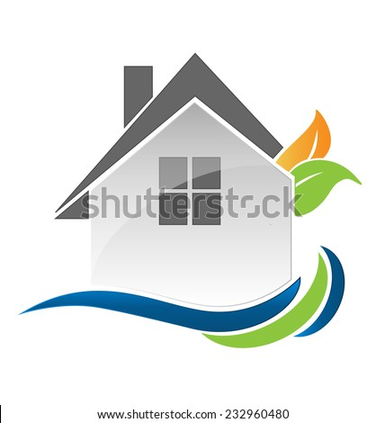 House leafs and waves icon vector illustration for real estate business - stock vector