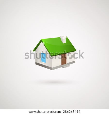 House logo. House with the green roof. House 3D. Logo elements. Trendy icon for business. Company logo. Vector illustration EPS 10. - stock vector