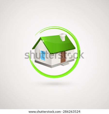 House logo. House with the green roof inside of green circle. Trendy icon for business. Company logo. Vector illustration EPS 10. - stock vector