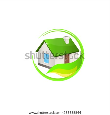 House logo. House with the green roof. Trendy icon for business. Company logo. Vector illustration EPS 10. - stock vector