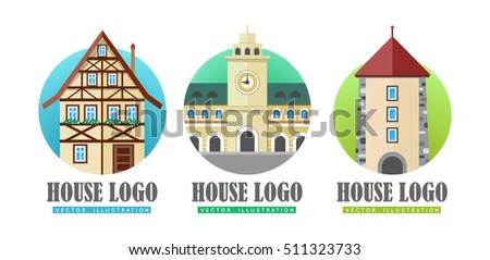 House Logo Vector Illustration Web Buttons Set Building With Clock Cottage Icon Sign