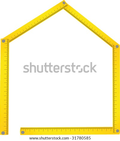 House made of meter background - stock vector