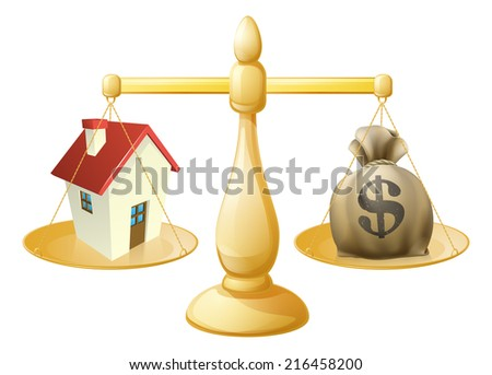 House money sack scales concept with a house on one side and sack of money on the other - stock vector