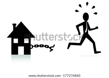 house mortgage concept, man breaking chains and escaping - stock vector