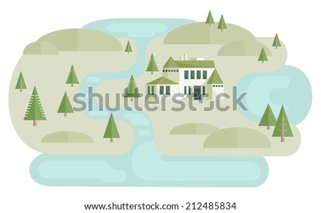 House near river. Vector illustration of landscape with villa near river between hills and pine trees. Map elements. Flat style. Vector file is EPS8, all elements are grouped. - stock vector