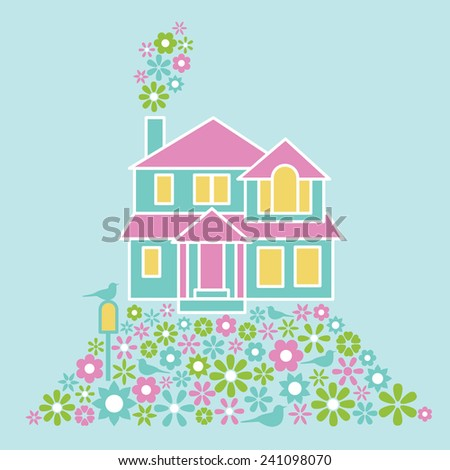 House of Flowers illustration with a bird on a mailbox. - stock vector