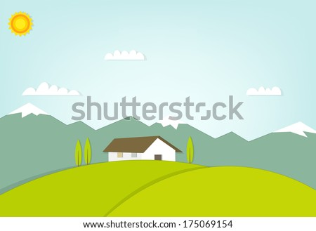 house on a hill on background of mountains - stock vector