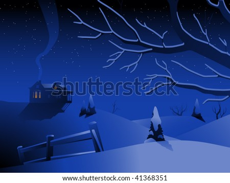 House on a snowy hilltop on a winter night