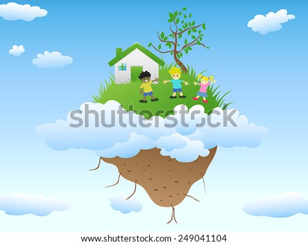 house on floating island - stock vector