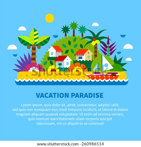 House on island in tropics. Summer vacation. Village houses, palm trees, sea, beach, boat, exotic plants and fruits. Vector flat  illustration - stock vector