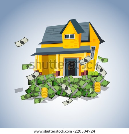 house on money stack, real estate business concept - vector illustration - stock vector