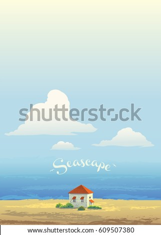 House on the coast of the sea, and the high sky with cloud, vector scenery.