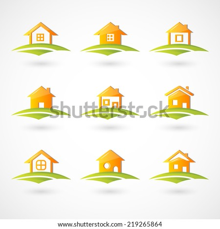 House on the field icons - stock vector