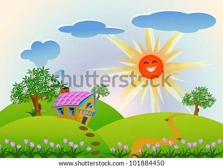 House on the Hill for children story. Cute house on the natural mountain landscape while the sun is rising in the afternoon, create by vector