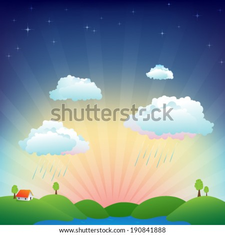 House on the hills with a sunrise on the background. Spring or summer day with a bit of rain and clear sky. - stock vector