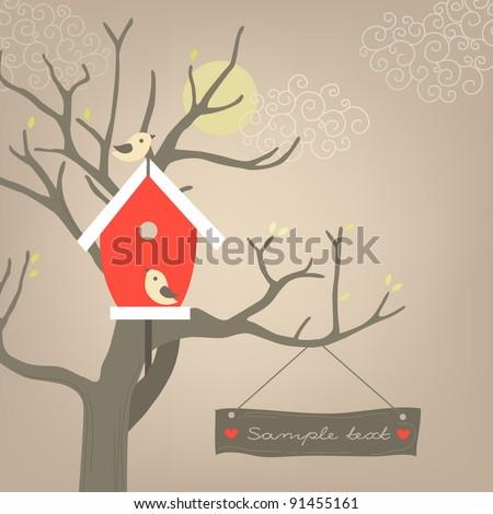 House on tree - stock vector