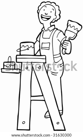 House Painter Line Art : Man on ladder with paintbrush and bucket.