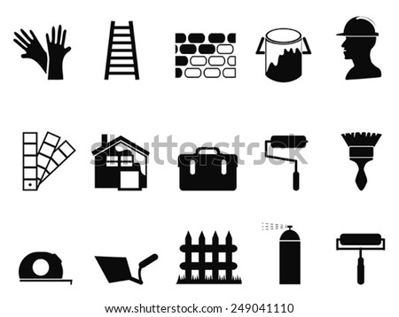 house painting icons set - stock vector