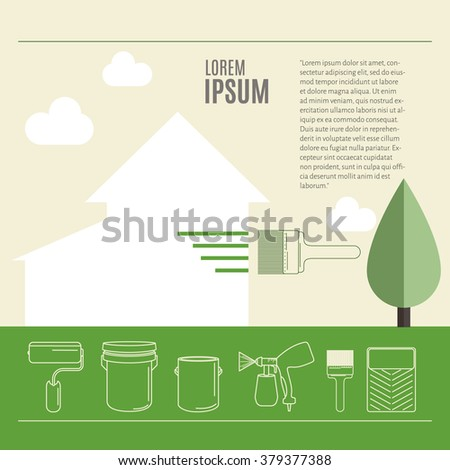 House painting using paint roller,brush, airbrush , paint  icon thin line for web and mobile.Painted banner with space for text. Painting and restoration. Painting work. - stock vector