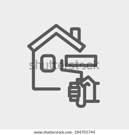 House painting using paint roller icon thin line for web and mobile, modern minimalistic flat design. Vector dark grey icon on light grey background. - stock vector