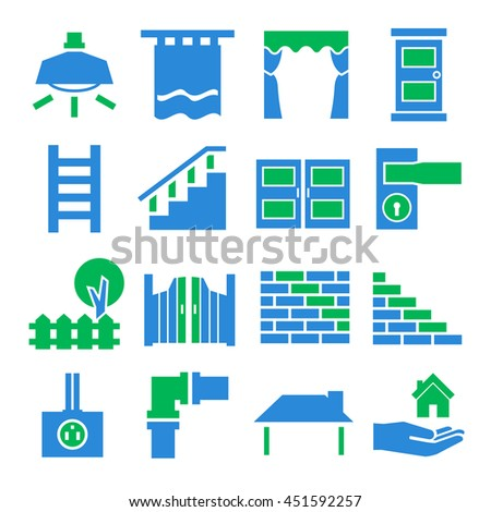 house parts icon set