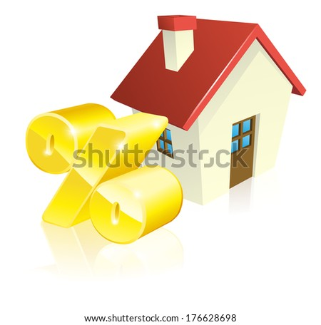 House percentage mortgage concept of house and gold percent sign - stock vector