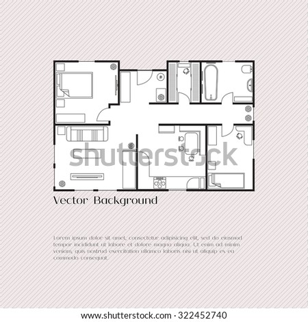 House plan background for card, banner, presentation template, real estate, social advertising, notebook cover, poster, postcard. Building with furniture. Vector illustration. - stock vector
