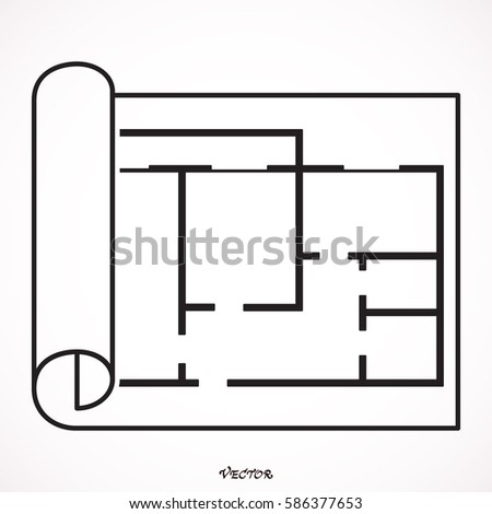 House Plan Icon Floor Plan Vector Stock Vector 586377653 - Shutterstock
