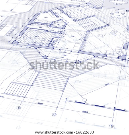 House Plan Vector Blueprint Stock Vector 16822630 - Shutterstock