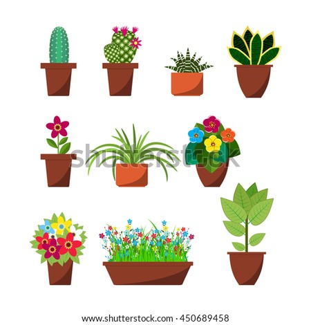 House plants and flowers for interior decoration flat icons collection. Home pot plant and tree plants with flowers and leaves. vector illustration in flat design - stock vector