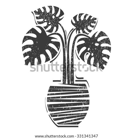 House plants: Monstera. Vector. Lino cut. Black and white