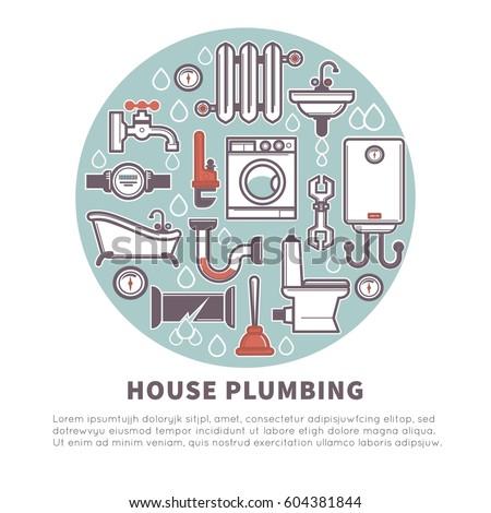house plumbing vector poster bathroom kitchen stock vector